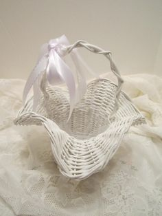 Flower Girl Basket  White Wicker Ruffled Rim Basket  by VKVDesigns