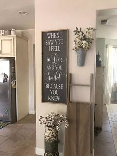 pin by jen on farmhouse style decorating ideas love quote wooden love sign framed quote when i saw you 492 best farmhouse family images diy chalkboard. Chimney Decor, Framed Quotes, Diy Décoration, Entryway Decor, Rustic Entryway, Ladder Decor, Farmhouse Decor, Modern Farmhouse, Farmhouse Interior