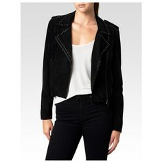 PAIGE Claris Jacket - Black Suede ($697) ❤ liked on Polyvore featuring outerwear, jackets, black suede, suede leather jacket, paige denim jacket, lapel jacket, suede jacket and collar jacket