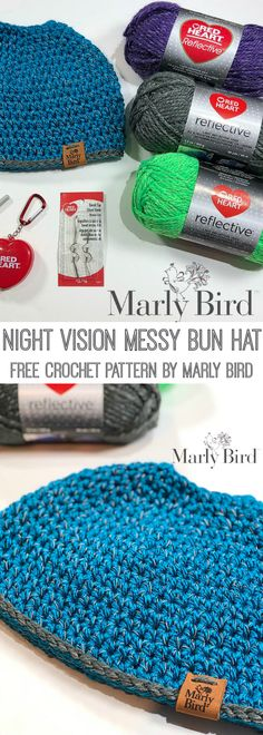 Free Crochet Pattern-Night Vision Messy Bun Hat by Marly Bird-Reflective Yarn makes this the perfect DIY project idea for runners!