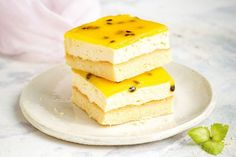 We've given classic vanilla slice a twist with coconut, white chocolate and a passionfruit glaze. Square Cake Pans, Square Cakes, Custard Cake, Vanilla Custard, Baking Recipes, Cake Recipes, Dessert Recipes, Dessert Ideas, Sweet Recipes