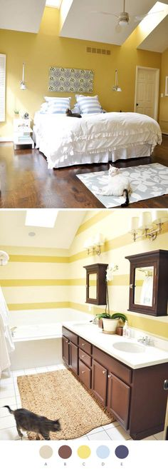 Love that yellow in the bedroom- Valspar Golden Mist