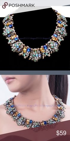 Stunning Rhinestone Glass Statement Necklace Chain (Length) : 450mm ,Pendant (Width) : 35 mm  #4 :Chain (Length) : 400-480 mm,Pendant (Width) : 40 mm  Weight :230 g Jewelry Necklaces