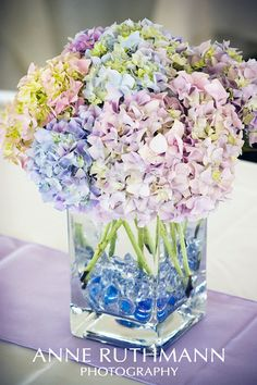 DIY Centerpiece - Lavender & Periwinkle Hydrangea in Glass Vase-- Would change it to possibly orange and pink lilies  with aqua marbles for the engagement party