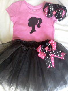 Hot Pink and Black Vintage Barbie Silhouette by BundlesBoutique. , via Etsy.