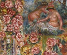 Study of Nudes and Flowers Pierre Auguste Renoir circa 1915 Private collection Painting - oil on canvas Height: cm in.), Width: cm in. Pierre Auguste Renoir, August Renoir, Weird Art, Strange Art, Claude Monet, Art Auction, Graphic, Art Day, Oil On Canvas