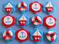 Sailboats, Anchors & Lifesavers Edible Fondant Baby Shower Cupcake Cake Toppers by TopCakeDecors on Gourmly