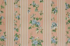 1930's Vintage Wallpaper Blue Roses on Pink and White Stripe
