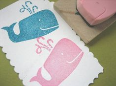 Whale hand carved rubber stamp. | http://amazingstampgallery.blogspot.com