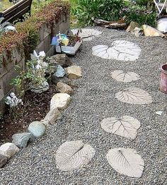Leaf stepping stone path by jana