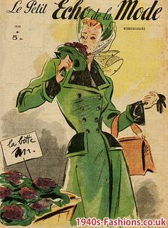 Green Coat with Hat 1948 - French Fashion Illustration