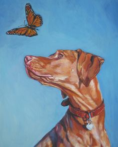 Vizsla art print by L.A. Shepard.  Darby looks just like this sometimes. :)