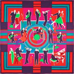 Hermès - Original Trocadéro Jazz Band, signé Sophie Koechlin (70x70cm)