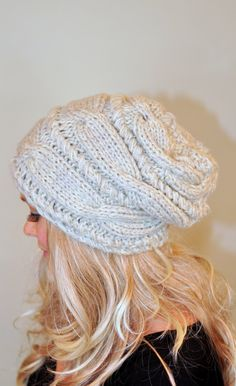 Women Hat Slouchy Hat Slouch Beanie Cable Hand Knit - 2014 Winter Beanies  for Girls Crochet f0bddb0587
