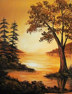 Acrylic Golden Sunset by Acrylic Golden Sunset by Sigrid G tzkow sigridgtzkow Gemalte Landschaften Acrylic painting on canvas board Inspired by nbsp hellip Painting landscape Scenery Paintings, Watercolor Landscape Paintings, Nature Paintings, Beautiful Paintings, Landscape Art, Watercolor Art, Bob Ross Paintings, Diy Canvas Art, Acrylic Painting Canvas