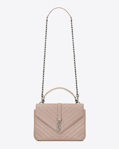 38ea0be2df6e9 Classic Medium MONOGRAM SAINT LAURENT COLLÈGE Bag in Powder Pink Matelassé  Leather