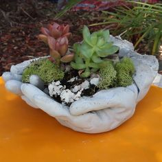 Concrete Garden Hands #gardening #green #plants #planter #small
