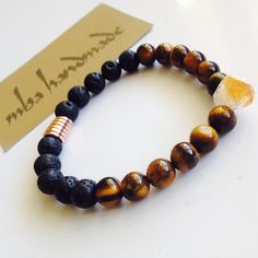 MEN'S NATURAL GEMSTONE CITRINE POINT TIGER'S EYE BLACK LAVA ROCK BEADED BRACELET #MBAHandmade #Beaded