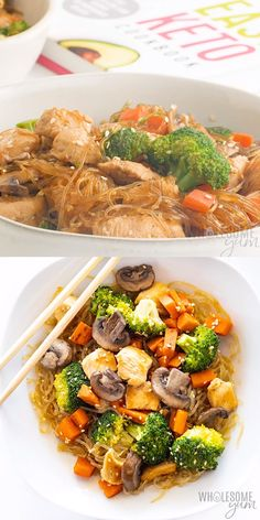 Keto Sesame Asian Kelp Noodles Recipe- This healthy EASY kelp noodles recipe is full of tender chicken crisp veggies sesame sauce and Asian kelp noodles. Keto paleo and ready in 30 minutes! Wok Recipes, Asian Noodle Recipes, Easy Healthy Recipes, Low Carb Recipes, Chicken Recipes, Easy Meals, Dinner Recipes, Cooking Recipes, Recipes With Kelp Noodles