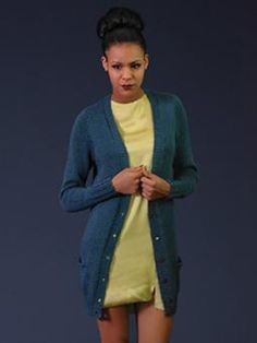This long-line boyfriend cardigan is knitted using Rowan Creative Linen and is s