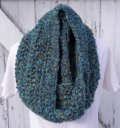 READY TO SHIP, Solarium, Blue Green Crochet Loop Scarf, Infinity Scarf, Large Chunky Scarf, Fall Winter, Women's Accessory, Cowl