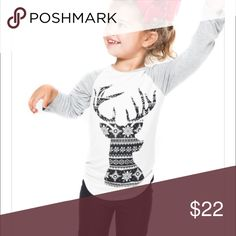 Toddlers deer Christmas top Toddlers deer Christmas top. Heather grey, white and black. Never worn. These are brand new in the package. No trades Shirts & Tops Tees - Long Sleeve