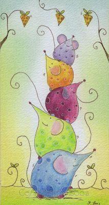 Martina Loos Art Blog: Eine Auftragsarbeit und eine Mäuse Pyramide