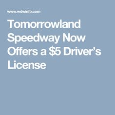 Tomorrowland Speedway Now Offers a $5 Driver's License