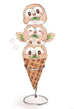 So kawaii and cute! Rowlet is defini… Adorable rowlet ice cream digital painting! So kawaii and cute! Rowlet is. Pokemon Memes, Pokemon Fan Art, Decidueye Pokemon, Pokemon Tattoo, Kawaii Drawings, Cute Drawings, Drawings Of Pokemon, Tous Les Pokemon, Photo Pokémon