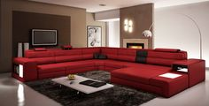 Living Room - Red Couch with Accent Sand Wall - Italian Leather Sectional Sofa in Dark Red