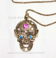 JEWELRY NECKLACE Antique Gold Gothic Punk Skull Head by EerieBeth