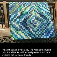 Sara Fridley used my Scrappy Trips pattern from the Free Patterns tab at the top of my blog making her quilt in blues and greens!  Awesome!  Makes me think of the Caribbean Quilt Cruise I have happening in just a few weeks time!   Love the sea glass colors. #quilt #quilting #patchwork #quiltville #bonniekhunter #quiltsbyyou http://quiltville.blogspot.com