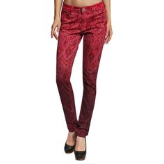Stitches Anladia Women's Red Ikat Pattern Skinny Jeans ($45) ❤ liked on Polyvore featuring jeans, red, red jeans, skinny fit denim jeans, stitchs jeans, print skinny jeans and ikat jeans