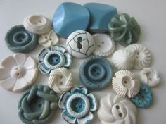 Vintage Buttons  Cottage chic mix of blue and by pillowtalkswf, $8.95