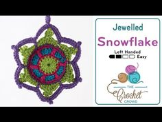 How to Crochet A Christmas Ornament: Jewelled Snowflake Left Handed