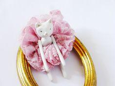 Ballerina Kitty Handmade Paper Clay Dolls One Of A by Dedalos, $54.00