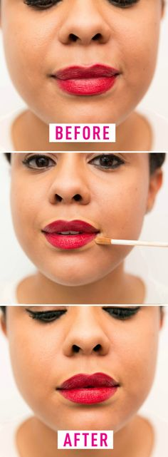 Don't apply lipstick without sharpening the edges.  This will make the lipstick bleed into the natural creases of theskin around your mouth. Instead: Line the outside of your lipsin concealer for a sharp look that willmake your lips pop.