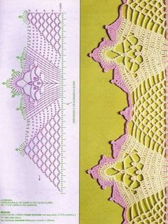 patrones de orillas tejidas a crochet para manteles Crochet Motif Patterns, Crochet Lace Edging, Crochet Borders, Crochet Diagram, Thread Crochet, Crochet Trim, Filet Crochet, Crochet Designs, Easy Crochet