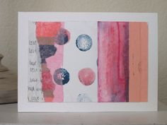 Love abstract upcycled recycled mixed media wall art in pink and blue with polka dots - pinned by pin4etsy.com