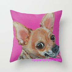 Chihuahua pillow cover or use as a decorative Pink throw pillow by PopArtPetPortraits, $35.00 #dogs #chihuahua
