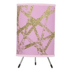 #home #lamps #decor - #Modernabstracthand painted gold lines pinkdec tripod lamp