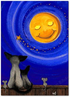 Siamese Cats Mice Moon and Stars - Art Print or ACEO by Bihrle ck217