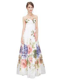 Ever Pretty Strapless Sweetheart Neckline Floral Print Prom Dress - Ever-Pretty US