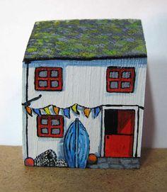 Blue Boat Cottage by jamjarart on Etsy