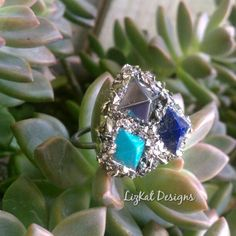 @lizkat_designs Gemstone Pyramid Planchette Ring in oxidized Silver with crushed Pyrite for sale online ~  #lizkat #lizkatonetsy #lizkatonmineraliety #pyramids #pyramidring #planchettering #showmeyourrings #blackmetal #silversmith #lapis #pyrite #hematite #turquoise #gemstones #giza #ring #jewelry #instajewels #instajewelry #ladysmith #metalsmith #riojeweler #palmbeach #westpalmbeach #lakeworth #florida
