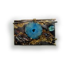 Pin pendant azure Blue Stalactite and dichroic in Sterling Silver and Married Metals  by Cathleen McLain McLainJewelry