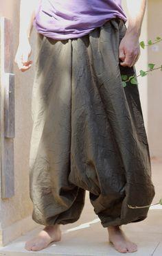 Green Khaki Long Men's Harem Pants Hippie Fisherman by lunalin