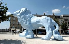 The Lion (2004), a permanent installation at Place Stalingrad, Bordeaux by artist Xavier Vielhan (photo credit goes to Didier Doustin). (via