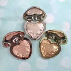 This just in! New @toofaced Prismatic Highlighters - swipe left for swatches!  Coming March 9th to toofaced.com and @sephora  Silver - Blinded by the Light Gold - You Light Up my Life Rose Gold - Ray of Light