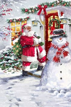 These high quality christmas paintings and christmas artwork are perfect for your home! Christmas Scenes, Santa Christmas, Christmas Colors, Winter Christmas, Christmas Decorations, Christmas Time, Magical Christmas, Father Christmas, Illustration Noel